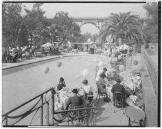 Vista Del Arroyo Hotel Poolside Lunch, Pasadena, 1937