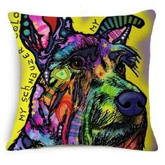 Colorful Oil Painting Cushion Cover 45x45CM (18x18IN) Cute Dogs & Cats Pillow Cover Pillow Case Home Decor