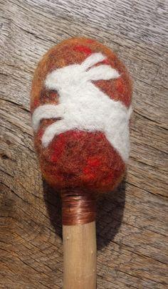 Felted wool drum beater. by SpiritHealerHoopDrum on Etsy