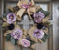 Spring Burlap Wreath with Purple Blooms