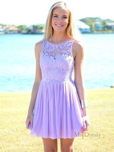 A-line Bateau Short/Mini Chiffon Homecoming Dress With Lace