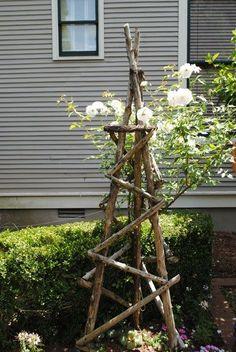 Ideas backyard garden trellis yards for 2019 Rose Trellis, Diy Trellis, Garden Trellis, Clematis Trellis, Plant Trellis, Obelisk Trellis, Trellis Ideas, Herbs Garden, Gardening Vegetables