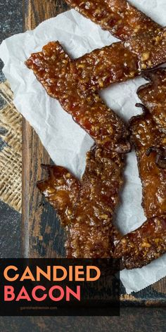 The BEST Candied Bacon recipe - Garnish with Lemon - Bacon is always a hit with a crowd, and this Candied Bacon is no exception. Candied Bacon Recipe, Bacon Recipes, Candy Recipes, Cooking Recipes, Bacon Appetizers, Appetizer Dips, Appetizer Recipes, Delicious Appetizers, Quick Appetizers