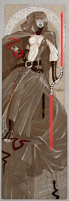 Asajj Ventress (Star Wars Jedi: Mace Windu) by Franchesco Star Wars Sith, Clone Wars, Star Trek, Alphonse Mucha, Asajj Ventress, Jedi Sith, Sith Lord, Star Wars Personajes, Inspiration Art