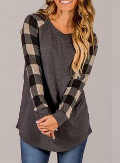 Round Neck Plaid Sleeve Pullover Tee Shirt OASAP.com