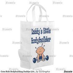 Cute Kids Bodybuilding Daddys Little Bodybuilder V Reusable Grocery Bag