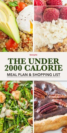 What's the best way to lose weight? Keep your calories low! This 2000 calorie meal plan and shopping list will set you up for success. 2000 Calorie Meal Plan, Calorie Diet, Diet Recipes, Healthy Recipes, Healthy Foods, Healthy Protein, Smoothie Recipes, Diet Meal Plans To Lose Weight, Ketogenic Diet Meal Plan