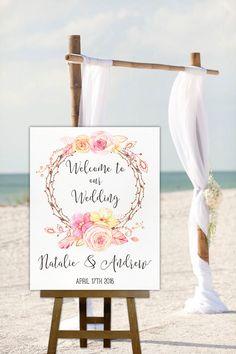 Printable Wedding Sign Welcome Floral Boho Poster