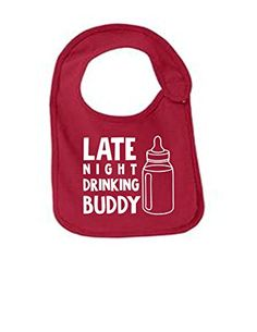 Late Night Drinking Buddy Funny Infant Jersey Bib Yellow One Size: Amazon.ca: Luggage & Bags