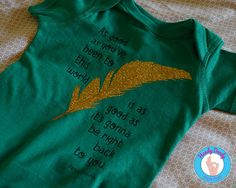 This Bohemian tee is exactly what your little hippie chick needs. Our made-to-order shirt features a Janis Joplin quote in black on a green onesie bodysuit or t-shirt. The text reads As good as you've been to this world is as good as it's gonna be right back to you and it features a gold sparkly feather in the middle.  All of our products are made to order with a professional heat press. If you'd like a different color combination (see image showing our options), include that info in the…