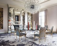 Antique Mirror, Fireplace Orb, Contemporary Spheric Chandelier, Brass Dining Chairs, Trendy Aray of Modern Glass & Crystal Obelisks