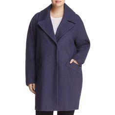 Marc New York Plus Wendy Notched Collar Coat ($210) ❤ liked on Polyvore featuring plus size women's fashion, plus size clothing, plus size outerwear, plus size coats, denim, long overcoat, long blue coat, denim coats, blue coat and blue overcoat