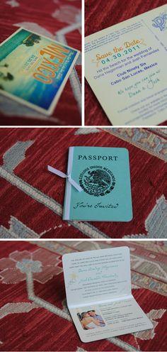 passport wedding invite and save the date postcard