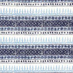 John Robshaw Textiles - Algiers Indigo - Blockprinted Linens - Fabric