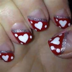 Heart nail art, heart nails, nail art tips, nail ideas, nail Sassy Nails, Love Nails, My Nails, Pretty Nails, How To Do Nails, Valentine Nail Art, Holiday Nail Art, Valentines, Heart Nail Art