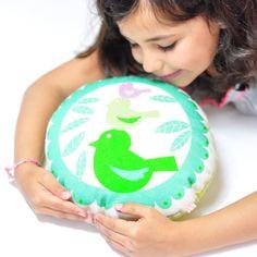 """round pillow """"tweet, tweet"""" in mint with birds"""