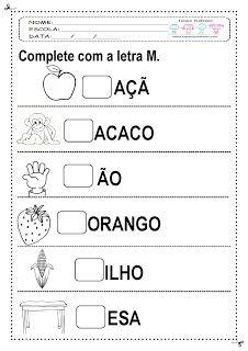Espaço Professor: Atividades para os alunos do baixo desempenho com a palavra MOSQUITO ( letra M e sílabas)