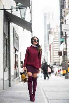 Burgundy Love :: Turtleneck sweater & Tall boots | Wendy's Lookbook | Bloglovin'