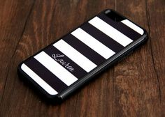 Black and White Stripes Monogram iPhone Tough Case and Samsung Tough Case #940
