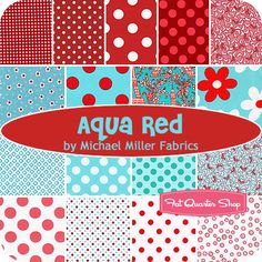 Aqua and red (i want to make a quilt with this fabric)