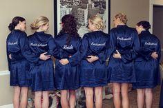 Bridesmaid Robes - Great Bridesmaid Gift! Navy Blue, Silver & White St. Pete Beach Wedding - Don CeSar - St. Petersburg, FL Wedding Photographer Reign 7 Studios