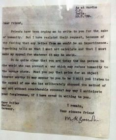 Letter from Mahatma Gandhi to Adolph Hitler, 1939