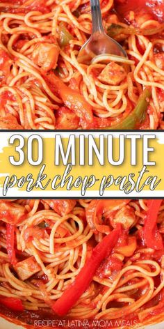 Spaghetti Recipes, Pasta Recipes, Dinner Recipes, Cooking Recipes, Healthy Recipes, Yummy Recipes, Recipies, Pork Chop And Pasta Recipe, Pork Chop Recipes