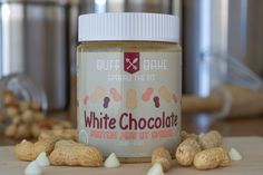 White Chocolate Peanut Butter  Ingredients:  Peanuts All Natural, Hormone-Free Whey Protein Organic Coconut Palm Sugar White Chocolate Chips Chia Seed Flax Seed