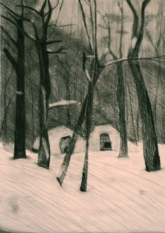 Charcoal winter forest. Painting & Drawing, Charcoal, Snow, Paintings, Drawings, Winter, Nature, Outdoor, Art