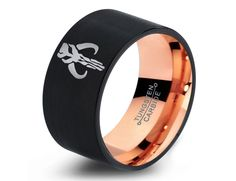 Star Wars Boba Fett Tungsten Wedding Band Ring Mens Womens Brushed Pipe Cut Rose Gold Fanatic Geek Anniversary Engagement Sizes Available