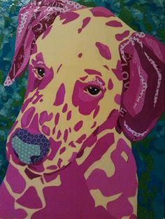 "Scrapbook Paper Collage art, Dalmatian Art-Pet Portrait-""Soft Spot"" by Laura Yager, dog art, animal portraits art, cut paper art"