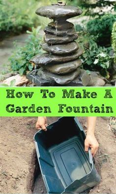 DIY:: This is a FABULOUS TUTORIAL ! How to Make A Garden Fountain Out Of drilled stones. Simple Step by Step Instructions. This would be great in an actual rock garden. There doesn't seem to be a lot (Diy Garden Fountain) Backyard Projects, Garden Projects, Backyard Ideas, Diy Projects, Pond Ideas, Outdoor Projects, Water Features In The Garden, Outdoor Water Features, Yard Art