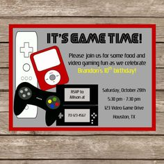 Video game party invitation template free google search party printable birthday video game invitation video game party game truck digital file 1200 via etsy stopboris Gallery