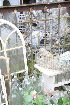 Bottles & vintage glass galore  xoxo--FleaingFrance
