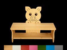 Bänke - Kinderbank Schwein Schuhbank Schuhregal 80 cm - ein Designerstück von Kanaholz bei DaWanda