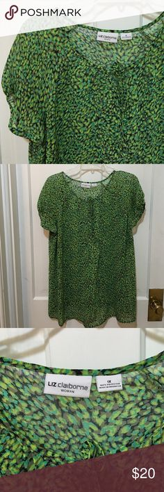 Liz Claiborne Top Sheer - you will want to wear a nude bra. Hangs nicely, 100 poly, 1X Liz Claiborne Tops Blouses