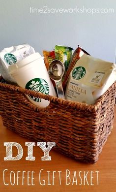 13 Themed Gift Basket Ideas for Women, Men & Families! 13 Themed Gift Basket Ideas for Women, Men & Families! diy-coffee-gift-basket<br> These 13 themed gift basket ideas will kick your gift-giving game up a notch! Fun ideas for women, men and families. Themed Gift Baskets, Diy Gift Baskets, Christmas Gift Baskets, Diy Christmas Gifts, Raffle Baskets, Basket Gift, Gift Basket Themes, Christmas Decorations, Coffee Gift Baskets