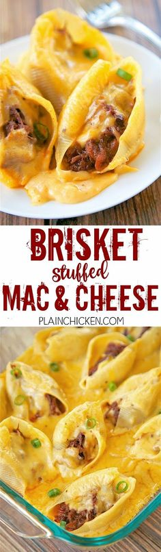 Brisket Stuffed Mac and Cheese - CRAZY good! Jumbo pasta shells stuffed with FarmRich Smokehouse Pulled Beef Brisket and topped with a quick homemade cheese sauce (butter, flour, milk and cheese). Everyone cleaned their plate! Ready in under 30 minutes! W