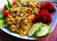 Kuskus s hlívou ústřičnou Vegan V, Couscous, Meatloaf, Fried Rice, Fries, Vegetarian, Ethnic Recipes, Fitness, Food