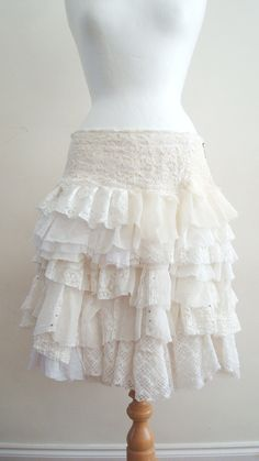 Upcycled Skirt Woman's Clothing Ivory Cream White Ruffles Cotton Linien  Lace Chiffone Layers Mori Girl. $98.00, via Etsy.