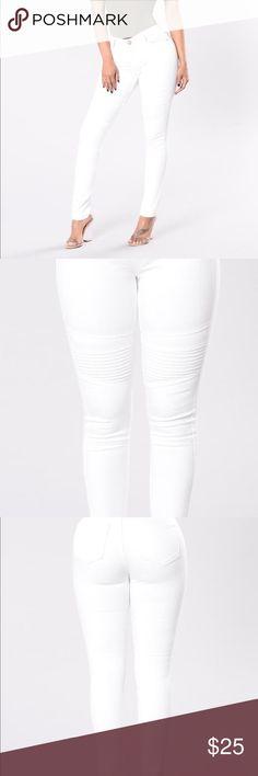 White Moto Jeans from Fashion Nova Cute jeans. Moto detail mid thigh. Fashion Nova Jeans