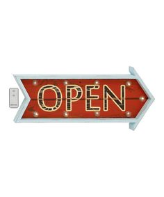 Another great find on #zulily! Remote Control Light-Up 'Open' Arrow Sign #zulilyfinds