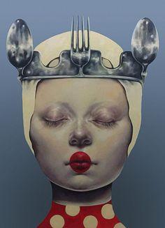 Artist: Afarin Sajedi {contemporary #surrealism art female head fork woman face portrait cropped painting} afarinsajedi.com