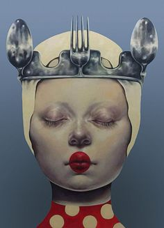 Artist: Afarin Sajedi {contemporary #surrealism art female head fork woman face portrait cropped painting} afarinsajedi.com