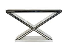 This stunning console is completely mirrored. The Alice console is studded with silver buttons and would make a great piece for the entrance to your home. The cross design of the legs is a beautiful feature on this gorgeous piece.