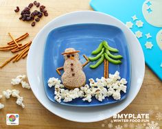 Winter #FoodFun for kids of all ages. MyPlate shows how to make healthy foods festive & fun. #snowman #winter #holidays