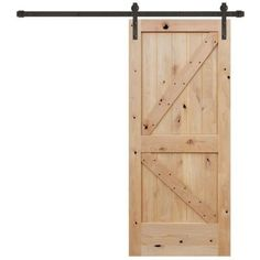 Pacific Entries 36 in. x 84 in. Rustic Unfinished 2-Panel V-Groove Left Knotty Alder Wood Barn Door with Bronze Sliding Door Hardware
