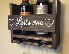 Simply Rustic 8 Bottle Wall Mount Wine Rack with 6 by KeoDecor