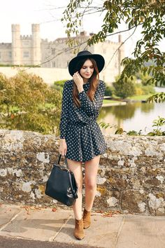 (Hat: ASOS, Playsuit: C/O The Fifth, Boots: Boden, Bag: Lulu Guinness, Rings: Urban Outfitters &...