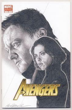 pencil drawing of Scarlett Johansson as Black Widow and Jeremy Renner as Hawkeye on a blank variant sketch cover by Ben Temples    http://smoothdaddyride.blogspot.com/